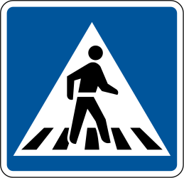 Traffic sign of South Africa: Crossing for pedestrians