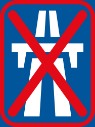 Traffic sign of South Africa: End of the motorway