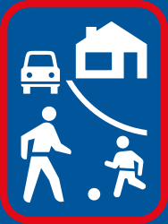 Traffic sign of South Africa: Begin of a residential area