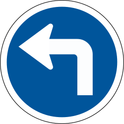 Traffic sign of South Africa: Turning left mandatory