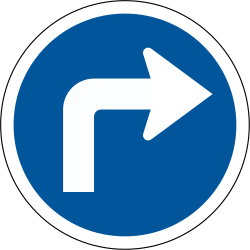 Traffic sign of South Africa: Turning right mandatory