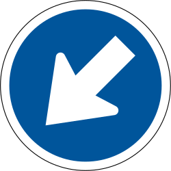 Traffic sign of South Africa: Passing left mandatory