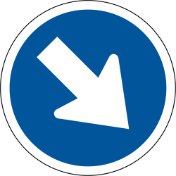 Traffic sign of South Africa: Passing right mandatory