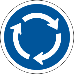 Traffic sign of South Africa: Mandatory direction of the roundabout