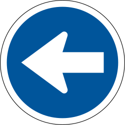 Traffic sign of South Africa: Mandatory left