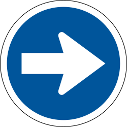 Traffic sign of South Africa: Mandatory right