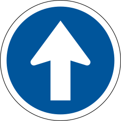 Traffic sign of South Africa: Driving straight ahead mandatory