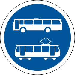Traffic sign of South Africa: Mandatory lane for buses and trams