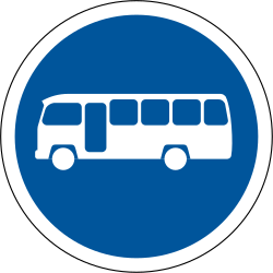 Traffic sign of South Africa: Mandatory lane for buses