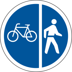Traffic sign of South Africa: Mandatory divided path for pedestrians and cyclists
