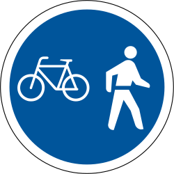 Traffic sign of South Africa: Mandatory shared path for pedestrians and cyclists