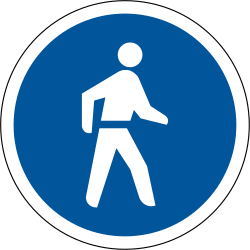 Traffic sign of South Africa: Mandatory path for pedestrians