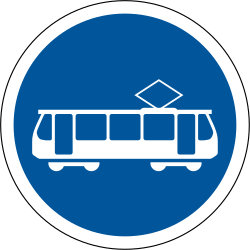 Traffic sign of South Africa: Mandatory lane for trams