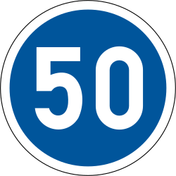 Traffic sign of South Africa: Driving faster than indicated mandatory (minimum speed)