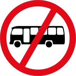 Traffic sign of South Africa: Buses prohibited