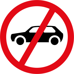 Traffic sign of South Africa: Cars prohibited