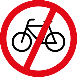 Traffic sign of South Africa: Cyclists prohibited