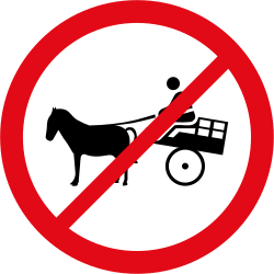 Traffic sign of South Africa: Horse carts prohibited