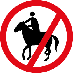 Traffic sign of South Africa: Equestrians prohibited