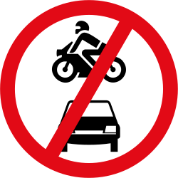 Traffic sign of South Africa: Motorcycles and cars prohibited