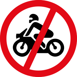 Traffic sign of South Africa: Motorcycles prohibited