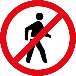 Traffic sign of South Africa: Pedestrians prohibited