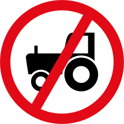 Traffic sign of South Africa: Tractors prohibited
