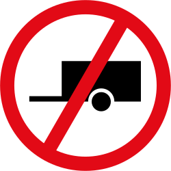 Traffic sign of South Africa: Trailers prohibited