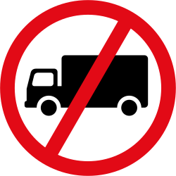 Traffic sign of South Africa: Trucks prohibited