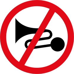 Traffic sign of South Africa: Using the horn prohibited