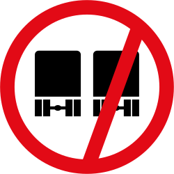 Traffic sign of South Africa: Overtaking prohibited for trucks
