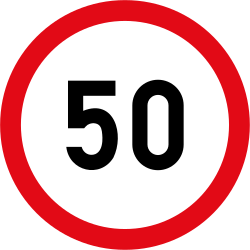 Traffic sign of South Africa: Driving faster than indicated prohibited (speed limit)