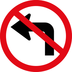 Traffic sign of South Africa: Turning left prohibited