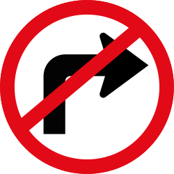 Traffic sign of South Africa: Turning right prohibited