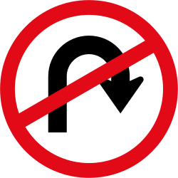 Traffic sign of South Africa: Turning around prohibited (U-turn)