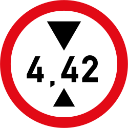 Traffic sign of South Africa: Vehicles higher than indicated prohibited