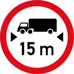 Traffic sign of South Africa: Vehicles longer than indicated prohibited