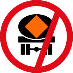 Traffic sign of South Africa: Vehicles with polluted fluids prohibited