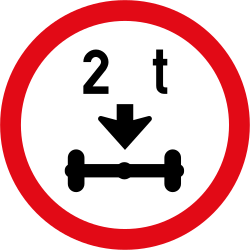 Traffic sign of South Africa: Vehicles with an axle weight heavier than indicated prohibited