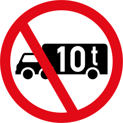 Traffic sign of South Africa: Trucks heavier than indicated prohibited