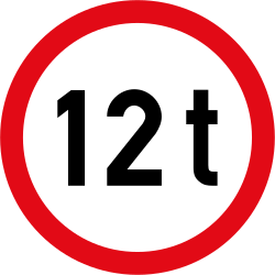 Traffic sign of South Africa: Vehicles heavier than indicated prohibited