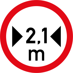 Traffic sign of South Africa: Vehicles wider than indicated prohibited