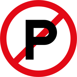 Traffic sign of South Africa: Parking prohibited