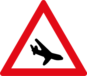 Traffic sign of South Africa: Warning for low-flying aircrafts