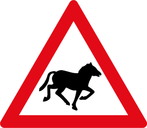Traffic sign of South Africa: Warning for wild horses on the road