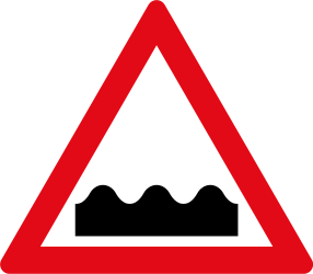 Traffic sign of South Africa: Warning for a bad road surface