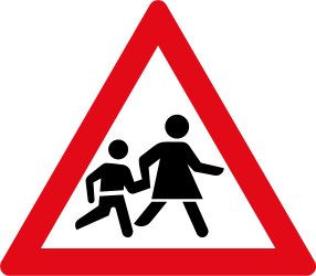 Traffic sign of South Africa: Warning for children