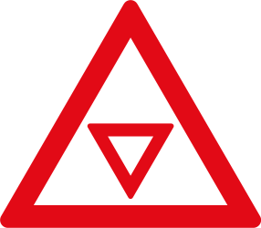 Traffic sign of South Africa: Give way ahead