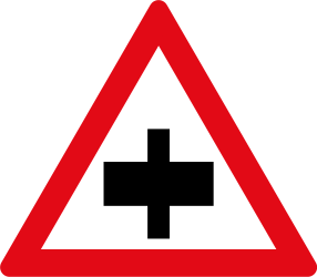 Traffic sign of South Africa: Warning for a crossroad, give way to all drivers