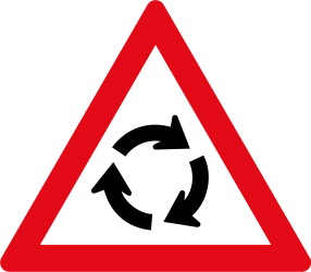 Traffic sign of South Africa: Warning for a roundabout